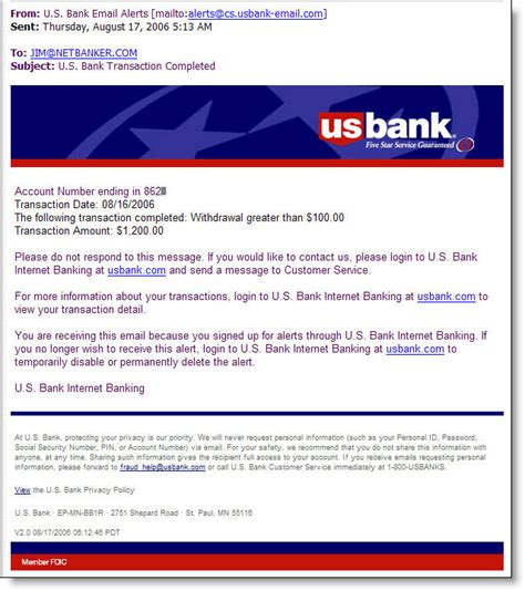 Bank Of Letterhead Us Bank Introduces Email Alerts 2 0 Finovate