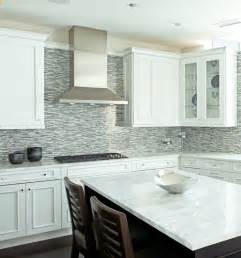 Kitchen Backsplash With White Cabinets Blue Mosaic Tile Backsplash Contemporary Kitchen
