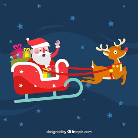 Imagenes De Santa Claus En Su Trineo Para Colorear | santa claus lindo en su trineo descargar vectores gratis