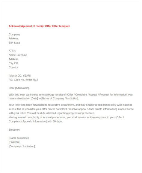 Acknowledgement Letter Offer Acknowledgement Letter Format Docoments Ojazlink