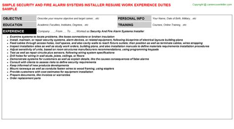 Security System Installer Cover Letter by Alarm Technician Resumes Sles