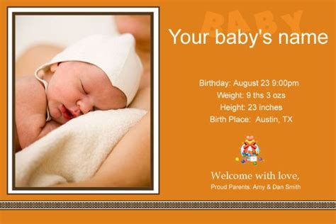 free baby announcements templates free photo templates baby birth announcement 2