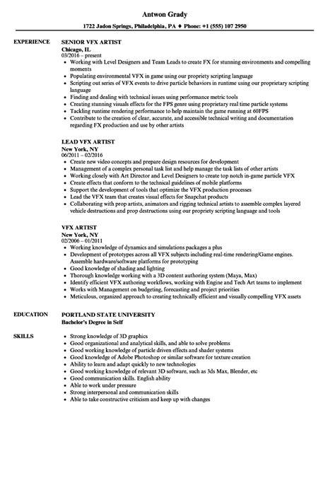 resume format freshers vfx artist vfx artist resume sles velvet