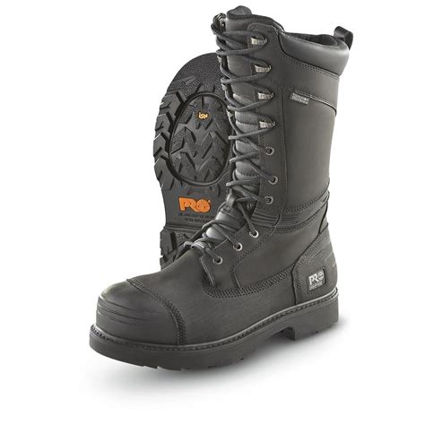 s timberland pro 174 14 quot steel toe miner s boots black