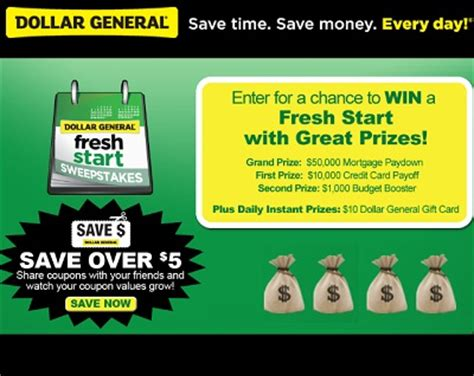 Dollar General Store Sweepstakes - dollar general fresh start sweepstakes win a fresh start in 2012 sweepstakesbible
