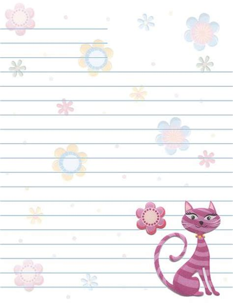 printable lined thank you paper free printable lined stationary cats flowers lined