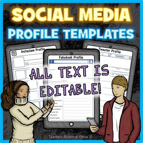 Social Media Profile Templates Editable Social Media Profile Template