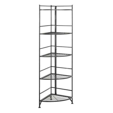 Black Metal Corner Shelf 5 tier folding metal corner shelf black 8021b