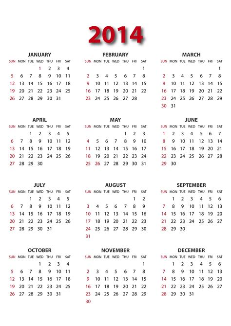 printable calendar yearly 2014 image gallery 2014 year calendar