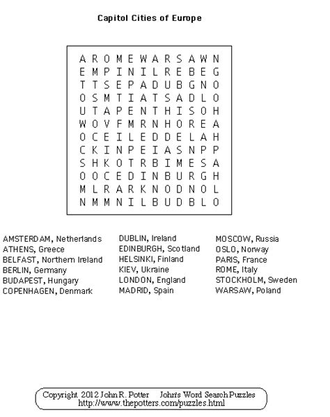 printable word search europe john s word search puzzles kids capitol cities of europe