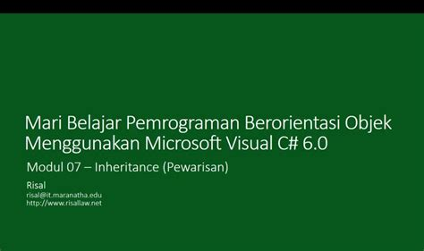 tutorial visual basic 6 0 bahasa indonesia 04 risal 07 belajar oop menggunakan visual c 6 0
