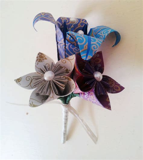 Origami Buttonhole Flower - paper flower origami buttonhole boutonniere wedding