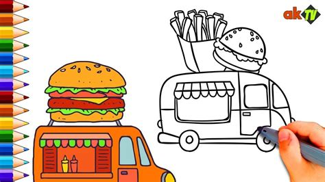 food truck coloring page burger food truck coloring pages for kids learning color