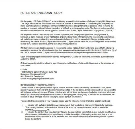 dmca notice template dmca notice template 12 free word excel pdf format