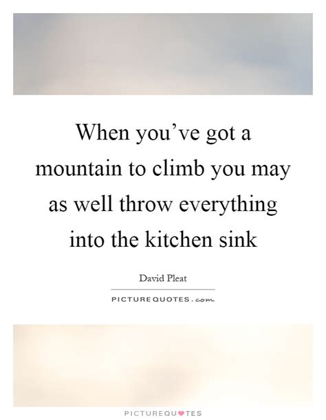 Throw In The Kitchen Sink When You Ve Got A Mountain To Climb You May As Well Throw