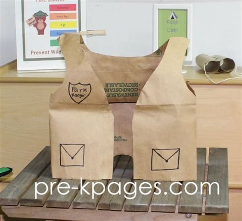 How To Make A Paper Vest - paper bag park ranger vest for dramatic play cing theme