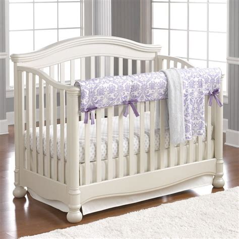 baby boys nursery grape abigail lavender damask bumperless crib bedding purple