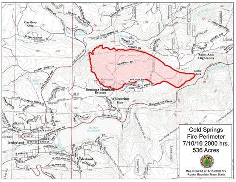 colorado wildfire map cold springs burns hundreds of acres west of boulder