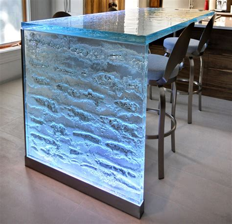 Led Countertop by Magnificent 2 Quot Thick Glass Countertop With Led Lighting