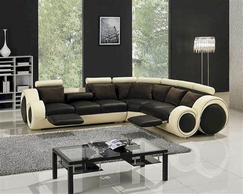 Two Tone Leather Sofa Modern Two Tone Leather Sectional Sofa Set With Recliners 44lt27c