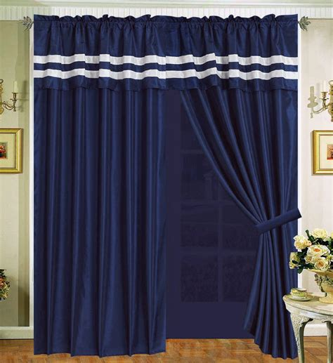 navy panel curtains navy blue white curtain faux silk panel backs valance