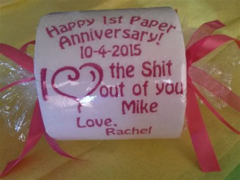"Happy 1st ""Paper"" Anniversary Embroidered Toilet Paper"