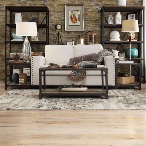 galena modern industrial rustic living room iron storage