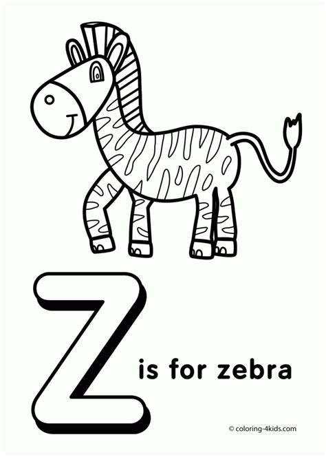 Letter Z Coloring Pages Of Alphabet Z Letter Words For Alphabet Coloring Pages A Z Pdf