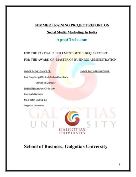 Mba Project Report On Social Media Marketing by Summer Project Report On