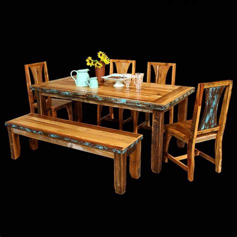 azul barnwood table chairs with bench package