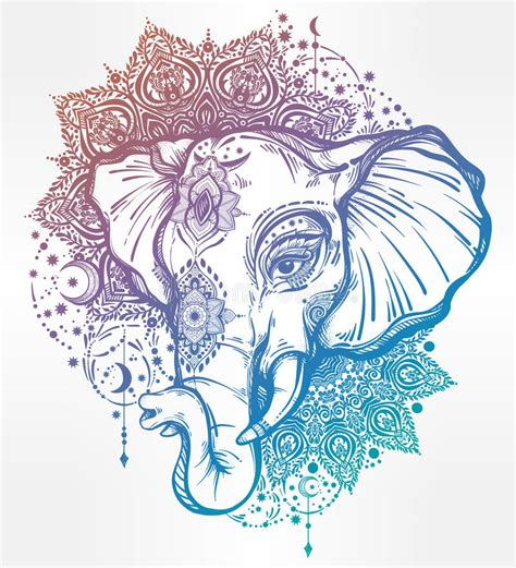 decorative elephant with tribal mandala ornament stock