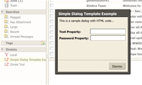 templates zimbra zcs 6 0 zimlet developers guide exles simple dialog