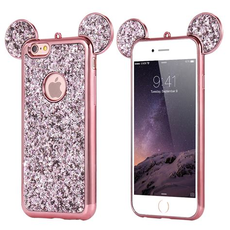 Mickey Bling Back Cover For Iphone 6 Plus 6s Plus bling paillettes soft tpu for iphone x 6 7 plus mickey ear protective cover ebay