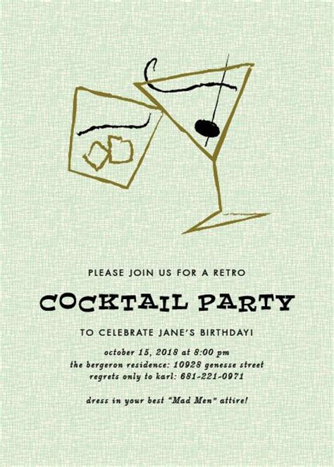 vintage cocktail party invitations retro cocktails party invitation www papersnaps