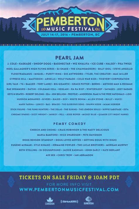 2016 film lineup pemberton music festival unveils 2016 lineup