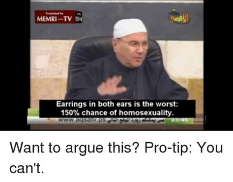 Memri Tv Memes - memri tv earrings in both ears is the worst 150 chance of homosexuality want to argue this pro