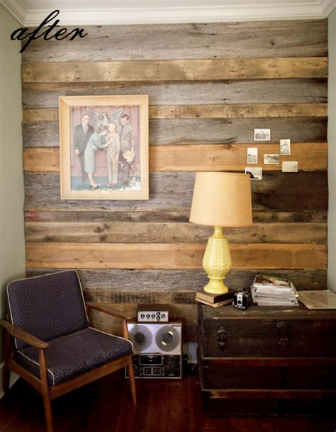 before after wood paneled accent wall design sponge before after austin s barn wood wall bear s chair