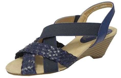 Navy Size 5 womens elasticated wedge heel wide fit sandals shoes navy blue size 5 ebay