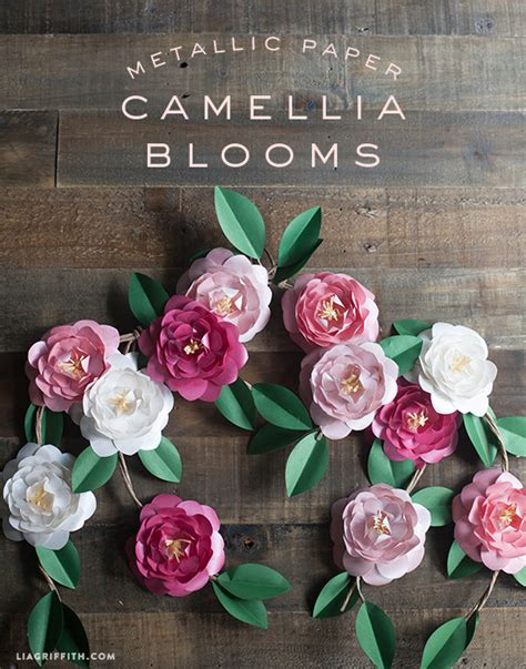 diy metallic paper camellias