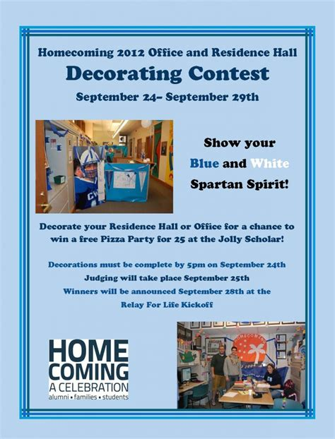 office holiday decorating contest flyer show your spartan spirit in the homecoming office residence decorating contest the daily