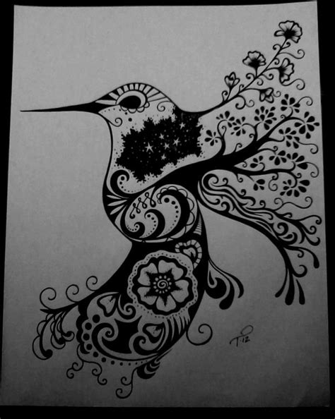 hummingbird henna tattoo custom ink drawing black white commissioned artwork by