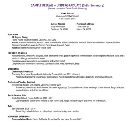 Sample Resume Objectives For Biology Majors by Best 25 College Resume Template Ideas On Pinterest
