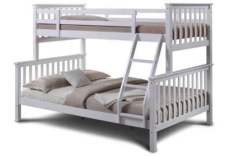 oscar white wooden triple sleeper kids bunk bed single double size crazy price beds