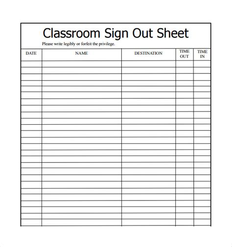 blank equipment sign out sheet template and printable equipment sign