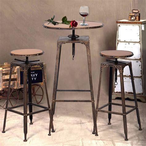 High Bistro Table 3pc Industrial Vintage Metal Design Bistro Set Adjustable High Bar Chair Antique Hw51127