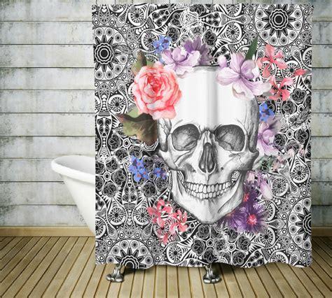 skull shower curtains sugar skull shower curtain dia de meurtos shower curtain