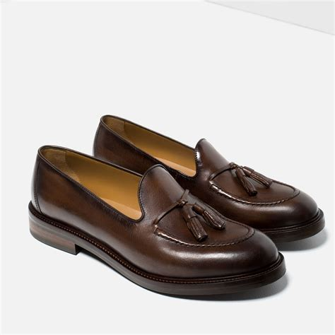zara loafers zara leather loafers with tassels in brown for lyst