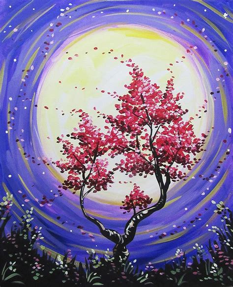 paint nite west island paint nite nocturnal blossom tree