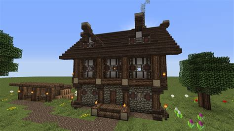 medieval minecraft house designs minecraft 2 story medieval house w horse stablestutorial youtube