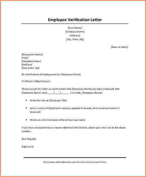 verification letter template 6 employment and salary verification letter sle